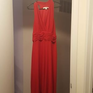 Evan Picone red halter dress with ruching.